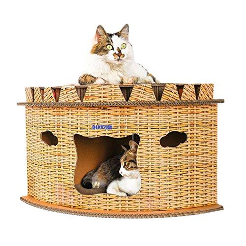 すぐ届く iikuru キャットハウス ダンボール 猫 ハウス キャットタワー 爪とぎ 猫用 家 子猫 ドーム型 ベッド ペット用 ねこ ペットハウス 爪とぎベッド 春 夏 秋 用 x809