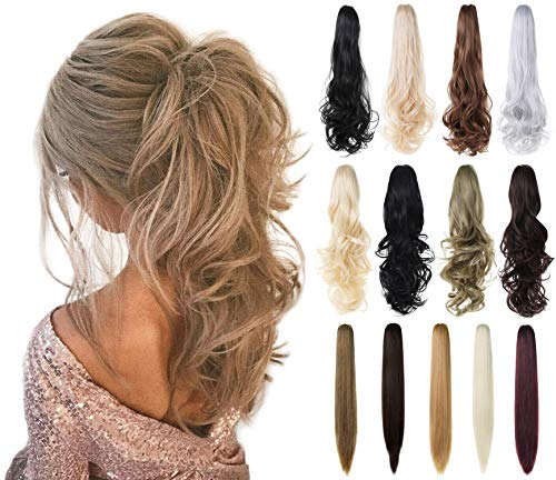 "XBwig Claw Clip in Ponytail Hair Extension 18"" 21"" 24""Curly Wavy Straight Hairpiece One Piece A Jaw Long Pony Tails for Women(Ash Blonde Mix Bleach Blonde 18""-Curly)"