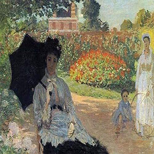 Claude Monet Poster, Motiv Frau mit Regenschirm sitzt im Garten als Nanny wattiert über einen kleinen Jungen, 61 x 91 cm