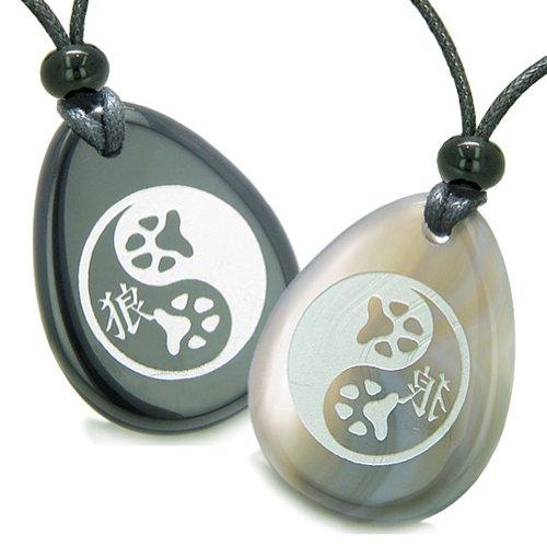 BestAmulets Amulets Wolf Paw Yin Yang Magic Kanji Love Couple Agate Black Agate Pendant Necklaces
