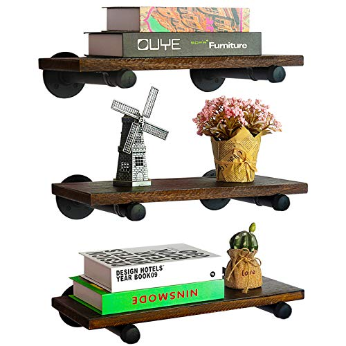MANTE BLONG Floating Shelves with Industrial Pipe Brackets Rustic Set of 2, Wall Mounted Wood Shelving Storage Home Decor for Living Room Bedroom Bathroom Kitchen Office (Brown)