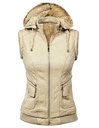 Made By Johnny WV1000 Womens Faux Leather Fleece Zip Up Vest Jacket with Removable Hoodie S Cream