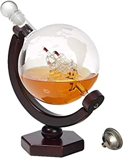Whiskey Decanter Globe Set - Lead-Free Decanter for Whiskey, Wine, Cocktails, Liquor, Scotch, Bourbon, Vodka - 850ml. Impressive Home-Bar Beverage Ser