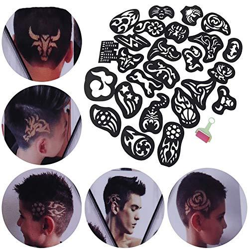 25 TEILE/PAKET Haarformungs-Form-Satz-temporäre Haar-Tätowierungs-Schablone Berufshaarschnitt-Versorgungsmaterialien-Haar-Färbung, die Werkzeug Barber Hairdressing formt