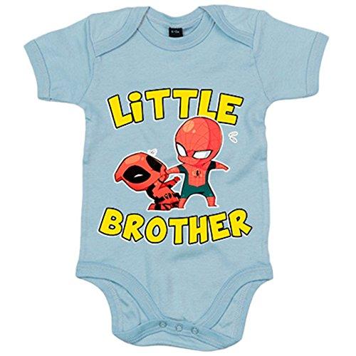 Body bebé parodia Spiderman y Deadpool Little Brother para hermanitos - Celeste, 6-12 meses