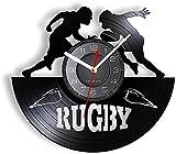 tuobaysj Horloge Murale Jeu De Rugby Contemporain Horloge Murale Ligue Rugby Jeu Longue Distance Record Rétro Horloge Murale Record Vinyle Artisanat pour Les Joueurs Et Les Fans 30X30Cm