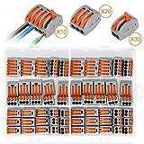 Morsetti Elettrici, Samione 60 pezzi Connettori Elettrici con Leva di Funzionamento, Kit di Morsettiere con Supporto Fisso, 30 Morsetti a 2 vie, 20 Morsetti a 3 vie, 10 Morsetti a 5 vie