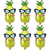 Pineapple Balloons Foil Helium Hawaii Fruit Party Balloons For Wedding Birthday Baby Shower Holiday Halloween Christmas Glitter Summer Luau Party Decorations Supplies Women Shiny Balloons 6 Pack