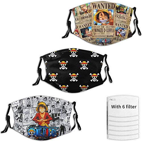 One Piece 3 Packs Anime Mask Adult, Adjustable and Reusable Manga Face Cover Bandana Neck Gaiter for Men and Women