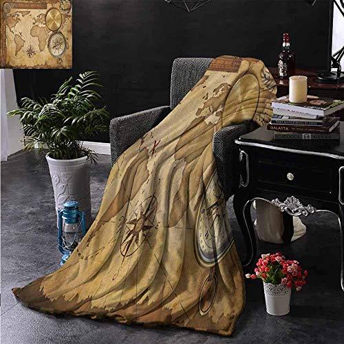 Ducan Lincoln Blanket Queen-Size-Flanell Fleece Decke Im Alter Von Schatzkarte Lineal Seil Alten Kompass Antik Abenteuer Entdeckung Weich Und Bequem Schlafsofa,127x102 cm