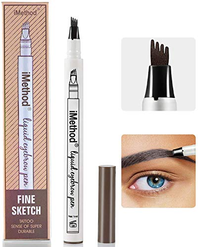 4 Point Eyebrow Tattoo Pen, waterproof eyebrow pencils, Microblading Eyebrow Pencil with a Micro-Fork Tip Applicator Creates Natural Looking Brows Effortlessly.(2 pc/set) (Dark grey)