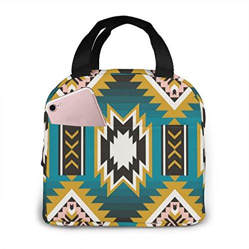Bolsa de almuerzo con aislamiento portátil para trabajadores y estudiantes, diseño de azteca india nativa americana
