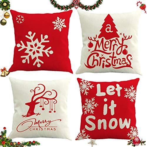 Sunshine smile 4 Pack Natale federe Cuscini,Fodere per Cuscini Decorate,Christmas Fodere per Cuscini,Fodere per Cuscini Natale,copricuscini Divano Natale,Fodere per Cuscini Divano (B)