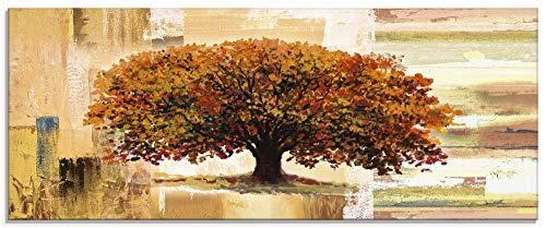 Artland Glasbilder Wandbild Glas Bild einteilig 125x50 cm Querformat Natur Baum Herbst Abstrakte Kunst Shabby Chic Landhaus S8WR