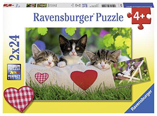 Ravensburger Kinderpuzzle 07801 - Verschlafene Kätzchen - 2 x 24 Teile