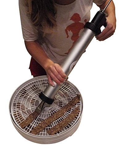 Beef Jerky Gun 2.7 Pound Capacity Pistol Maker - Easy Clean Aluminum Cannon, Beef Stick Attachment and Flat Strip Shooters with Reserve Barrel