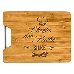 SaphirDesign Personalisiertes Schneidebrett aus Bambus Holz mit Gravur, Küchenbrett, tolle Geschenkidee (SB01)