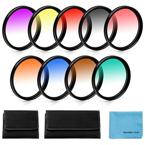 58mm Graduierte Farbe Objektiv-Filter,Fotover 9 Stück Graduated Color Lens Filter Set für Canon Nikon Sony Pentax Olympus Fuji DSLR Camera mit Linsenfilter Beutel und Linsenreinigungstuch