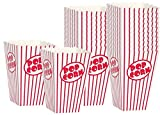 Movie Theater Popcorn Boxes - Paper Popcorn Box Red and White, Great Popcorn Container for Movie Night Decorations, Home Theater Theme Decor Popcorn Buckets, Popcorn Cups Carnival Circus Party.