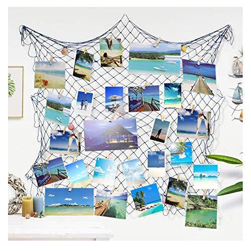 Ecjiuyi Foto hängende Anzeige, Bilderrahmen Wanddekoration, Fotorahmen Collage (Blau)