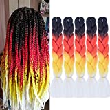 24 Inch Ombre Jumbo Braiding Hair Extensions Ombre Braiding Hair 5 Pack Ombre Kanekalon Braiding Hair Synthetic Fiber Hair For Braiding(Black to Red to Yellow to White)