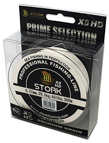 Stork HDx8, 8-Fach geflochtene premium Angelschnur 300m (Weiß, 20 lbs / 9.1 kg / 0.18 mm)