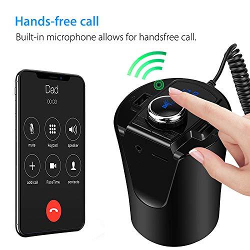 HEHAOYUAN bekerhouder Bluetooth FM-zender, Bluetooth FM-radio adapter handsfree carkit met dual USB-lader ondersteunt MP3/WMA tot 32G te lezen
