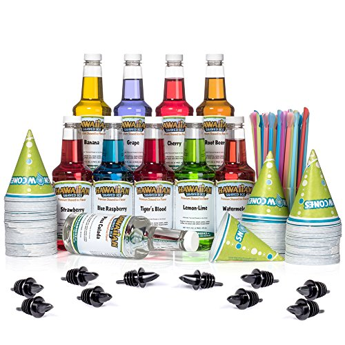 Hawaiian Shaved Ice Syrup 10 Pack with Accessories