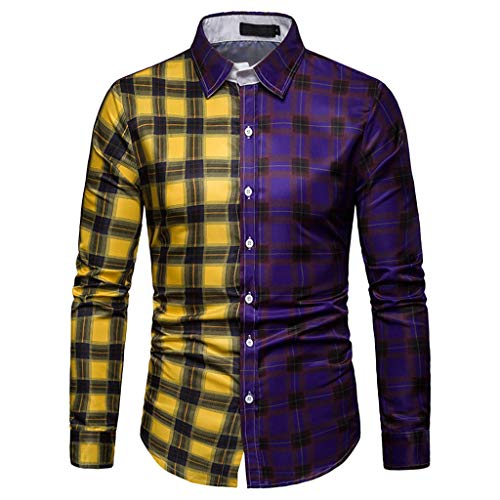 ReooLy Men's Long Sleeve Lattice Plaid Painting Patchwork Large Size Top Blouse Shirts