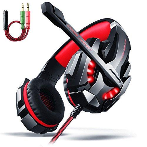 AOSO LED-Cuffie da gioco con microfono e controllo Volume, & audio Surround, isolamento acustico, extra Comfort, Cuffie auricolari da 3,5 mm, da testa, per PS4/PC/Laptop-colore: rosso