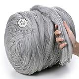 MeriWoolArt 100% Merinowolle zum Stricken & Häkeln mit 4-5 cm dickem Garn | Dicke Merino Wolle für...
