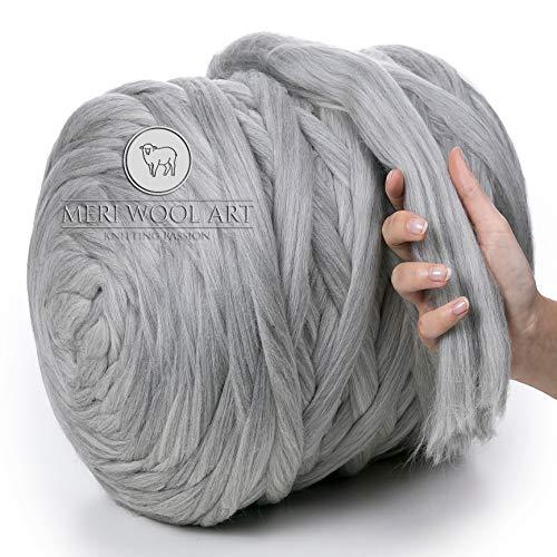 MeriWoolArt 100% Lana Merinos per Lavorare a Maglia e Uncinetto – Lana Grossa Spessore 4-5 cm – Lana Merino Ideale per Sciarpe e Coperte (Light Grey Melange, 250g)