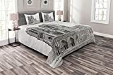 Ambesonne Notre Dame Bedspread, European Heritage Antique Architecture Sketch Art Print, Decorative Quilted 3 Piece Coverlet Set with 2 Pillow Shams, Queen Size, Charcoal Grey and White