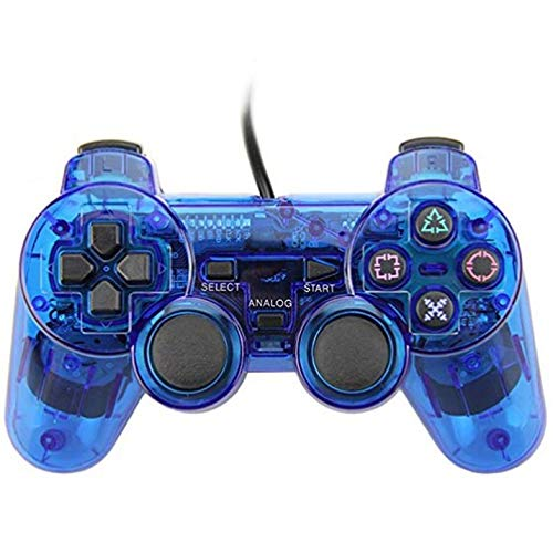 Cloverclover Wired Gamepad for Sony PS2 Controller Joystick for plasystation 2 Controle Negro Mando y Volante