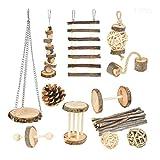YUYAN 12 piezas/set de juguetes para hámster masticar ratas de madera natural Chinchillas Regalos Ejercicio Campana Rodillo Cuidado de dientes Molar Accesorios para Conejos Gerbos