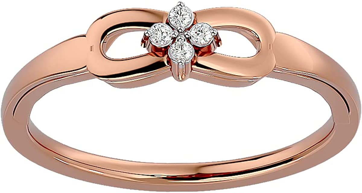 Certified Animer and New popularity price revision 14K Gold Ring in Round Cut Diamond Natural w ct 0.04