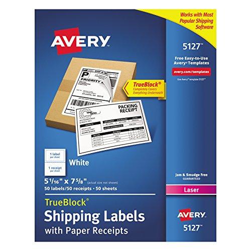 Avery Versand-Etiketten mit Papierquittungen und TrueBlock-Technologie für Laserdrucker, 5–1/16 x 7-5/8, 50 Stück (5127), weiß