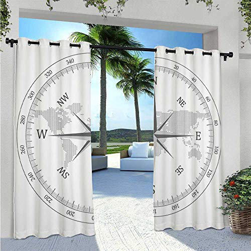Adorise Blackout Curtains Compass Illustration World Map Maritime Seaman Life Equipment Monochromic Artwork Waterproof Outside DéCor for Canopy/Pergola/Yard Privacy Gray White W72 x L96 Inch