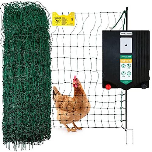 Agrarzone Geflügelzaun Komplett-Set DUO 1500 12V/230V, 2J, Netz 50m x 112cm grün | Stabiles Hühnerzaun-Set mit Weidezaungerät | Beste Hütesicherheit für Hühner, Geflügel | Für Weidezaun Elektrozaun