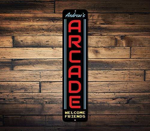 Letrero de arcade para decoración de sala de juegos, para decoración de sala de juegos, decoración de sala de juegos, arcade de metal, letrero de estaño, 40 x 10 cm
