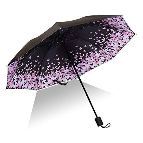 Mdsfe Paraguas Hombre lloviendo Mujer a Prueba de Viento Gran impresión de Flores en 3D Soleado Anti-Sol 3 Paraguas Plegable al Aire Libre - como imagen5, a1