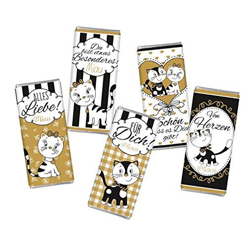 5 mal Mini Schokolade Katze Freundschaft Geburtstag Liebe STEINBECK Minitafeln Tafel 5er Set Geschenk Alles Liebe süß Mitgebsel Für Dich schwarz gold