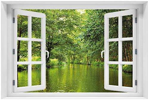 Wallario Poster mit Fenster-Illusion: Spreewald in Brandenburg grüne Wälder und Spiegelungen im Wasser in Premiumqualität, Größe: 61 x 91,5 cm (Maxiposter)
