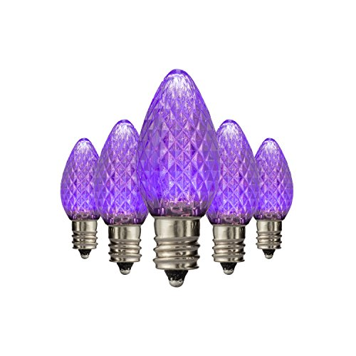 LED C7 Purple Replacement Christmas Light Bulbs, Commercial Grade Holiday Bulbs, 3 Diode (LEDs) in Each Bulb, Fits in E12 Sockets, Pack of 25 Bulbs