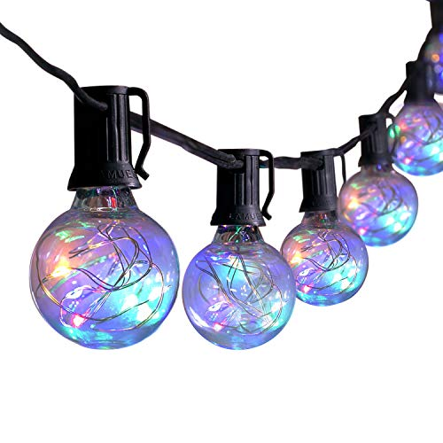 Brightown 25Ft G40 Globe String Lights with 25 Shatterproof LED Bulbs, Energy Saving UL listed Backyard Patio Lights for Bistro Pergola Tents Market Cafe Gazebo Party Decor, Black Wire