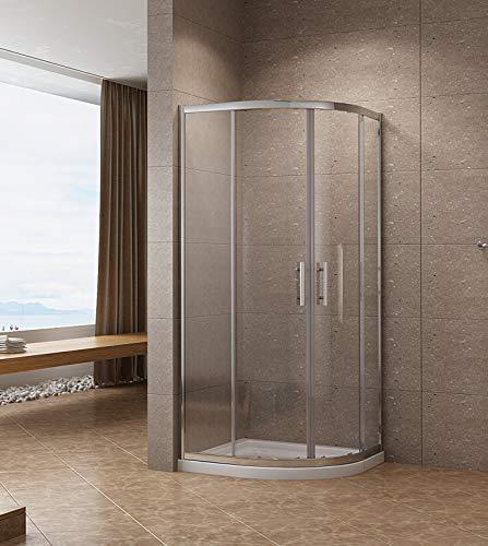 AQUABATOS® 80 x 80 x 185 cm Duschkabine Viertelkreis Schiebetür Duschabtrennung Runddusche Duschtrennwand Duschwand Glas aus 6mm ESG Glas