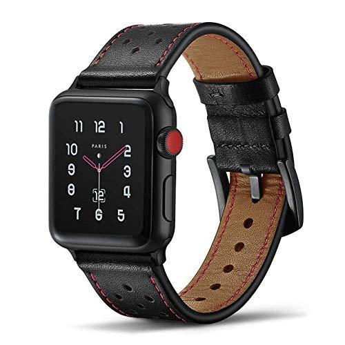 Correa de reloj de cuero para Apple Watch 4, 44 mm, 42 mm, iwatch Series 1, 2, 3, correa de repuesto deportiva, Dressy Classi, color negro, 38 mm o 40 mm (color negro, tamaño: 42 mm o 44 mm)