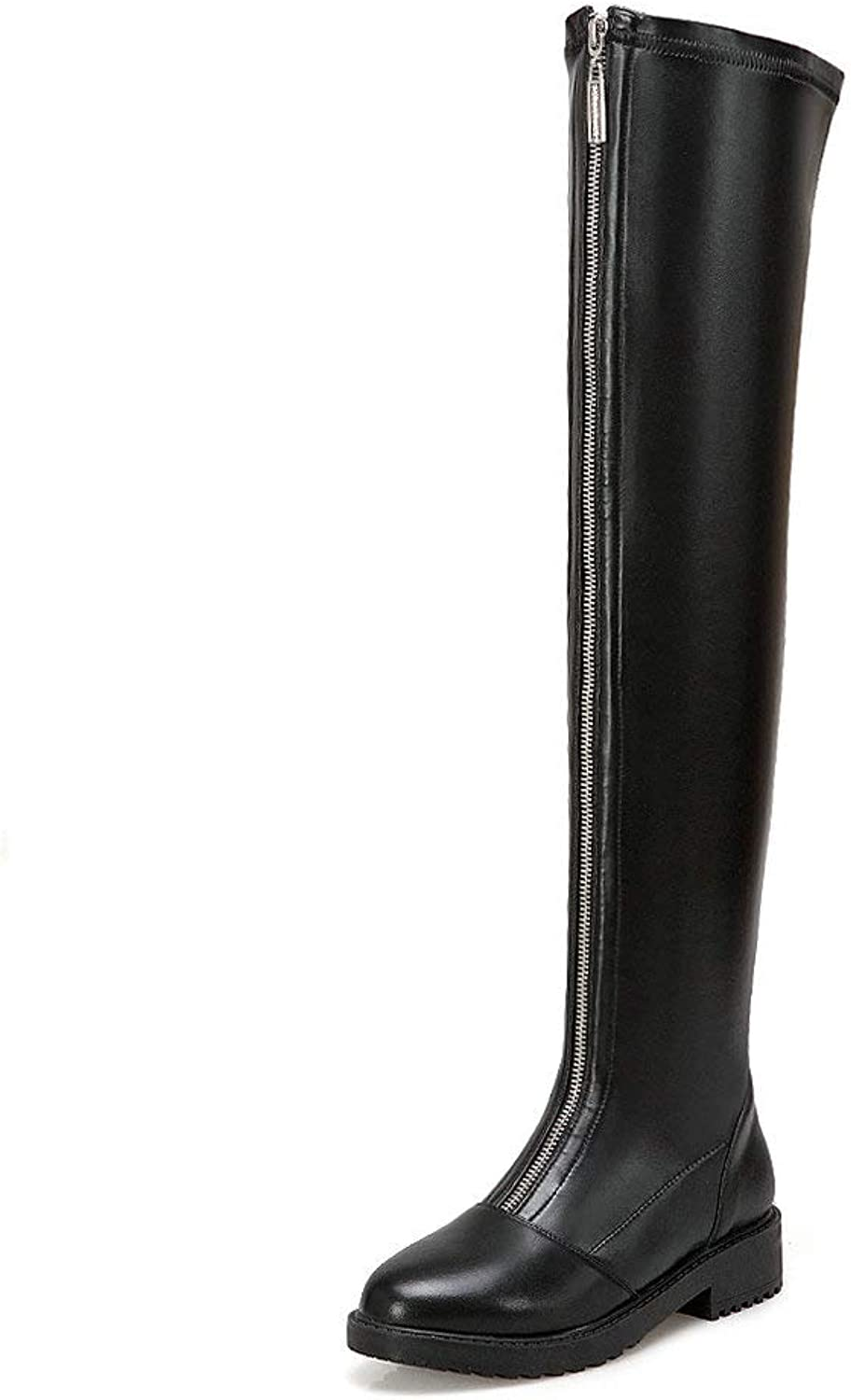 AnMengXinLing Over The Knee Boot Women Front Zipper Block Low Heel Round Toe Comfy Stretch Leather Thigh High Booties