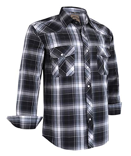Coevals Club Men's Western Plaid Pearl Snap Buttons Two Pockets Casual Long Sleeve Shirts
