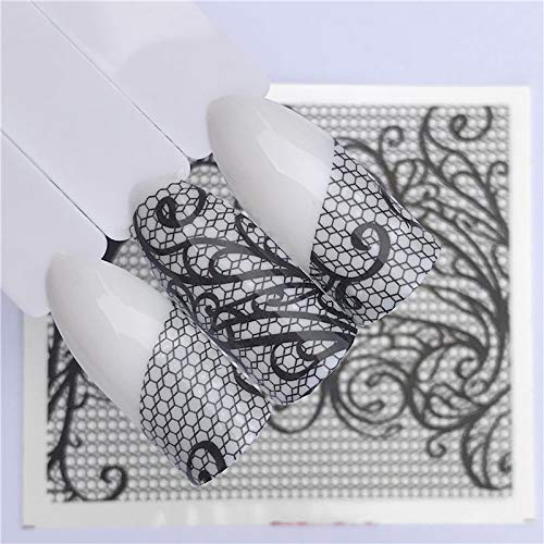 Nägel Wassertransfer Nail Art Aufkleber Abziehbilder Schwarze Spitze Blumen Design DIY Französisch Maniküre Folien Stempel Werkzeuge